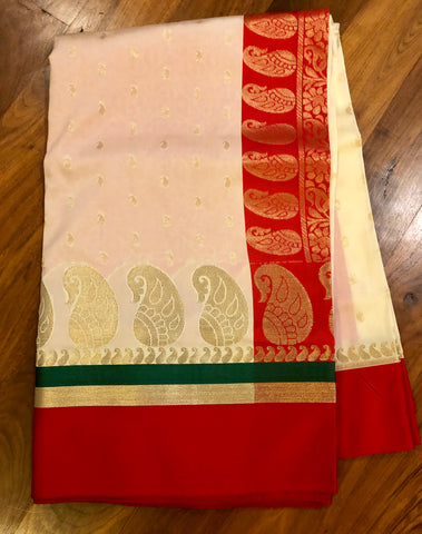 Traditional Bengali Red and White Kanchi Silk Saree