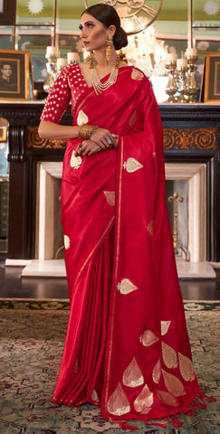 Cherry Red Satin Silk Saree