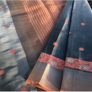 Grey and Peach Pure Soft Handloom Silk Saree with Embroidery