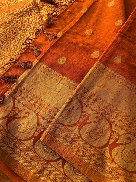 Orange and Gold Crepe Silk Saree with Golden Butta's and Tassel on Aachal