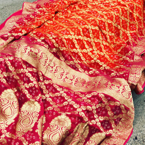 Orange Bandej Bandhani Georgette Saree