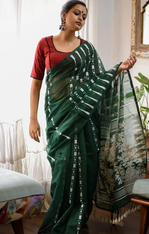 Green and White Cotton Jamdani Saree