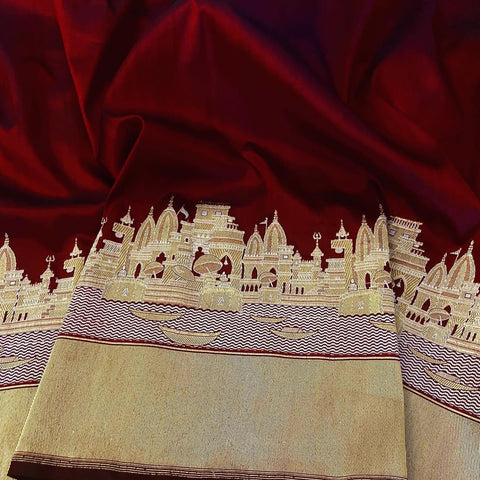 Pure Katan Silk Banarasi Saree in  Deep Maroon and Gold