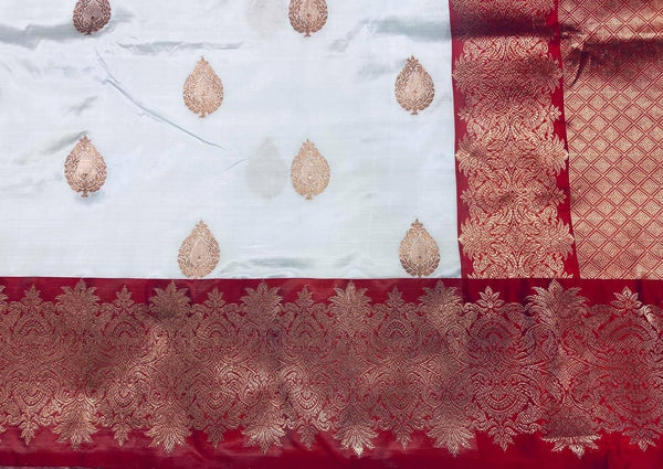 Red and White Pure Handwoven Katan Silk Saree
