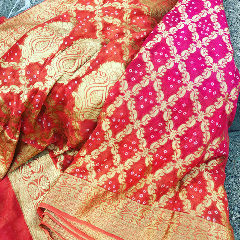 Double Shaded Orange and Pink Bandej Bandhani Saree