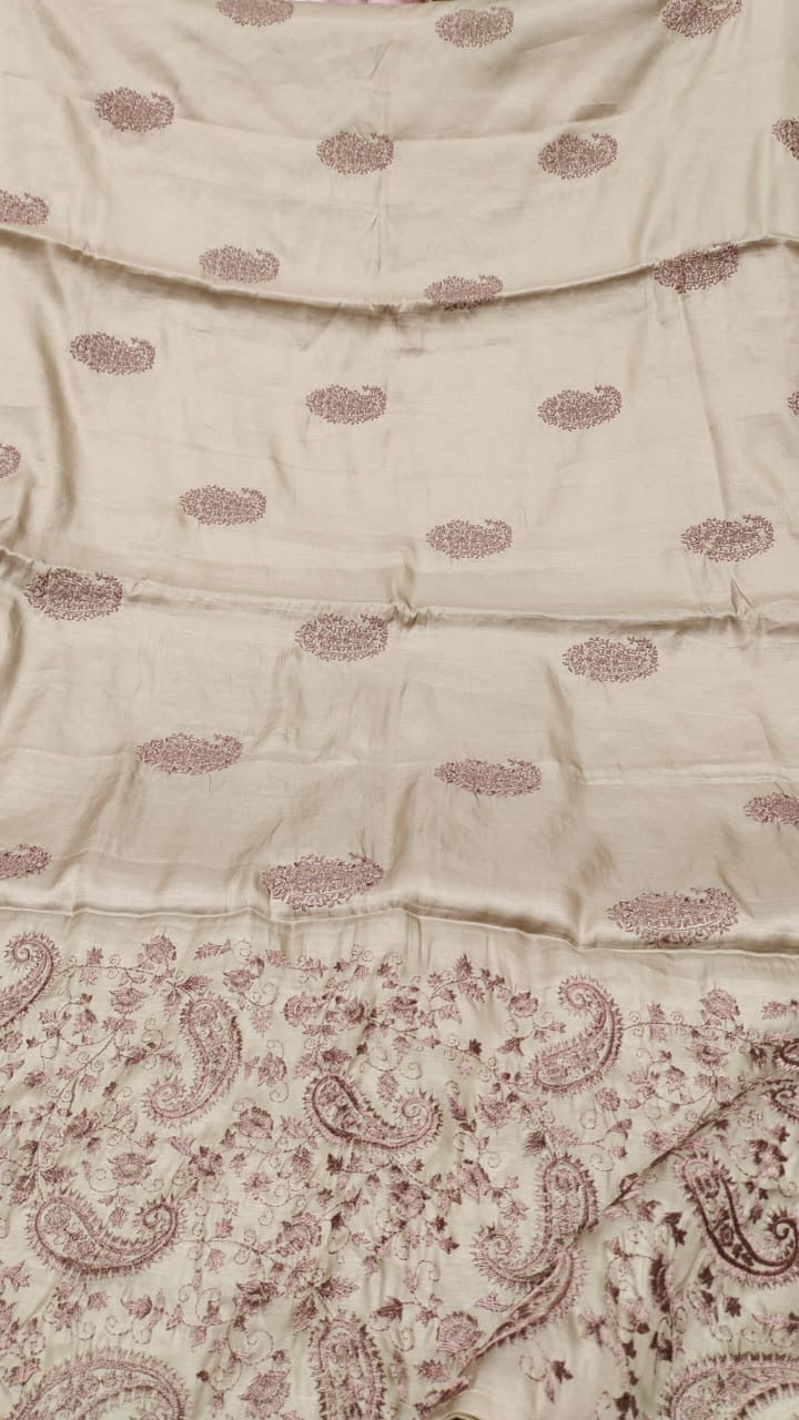 Taupe Slate Shaded Tussar Handloom Silk Saree with Embroidered Thread Work