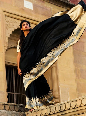 Pure Katan Silk Banarasi Saree in Black and Gold