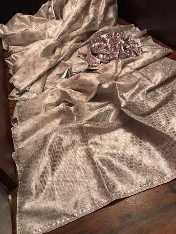 Silver White Raw Silk Banarasi Saree