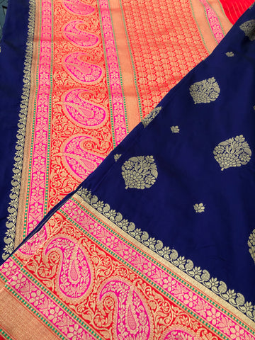 Navy Blue Banarasi Silk Saree with Golden Butta's with Multicolor border