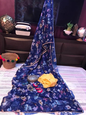 Blue Floral Printed Georgette Chiffon Silk Saree