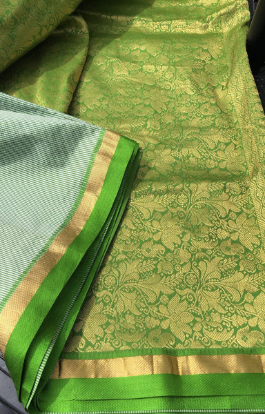 Soft Pure South Silk Green Check Saree with Zari Aachal