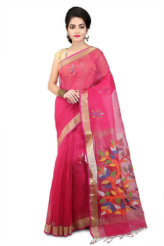 Redish Pink Mixed Resham Silk Jamdani Saree