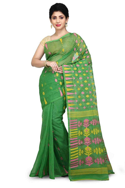 Green Pure Resham Cotton Jamdani Saree