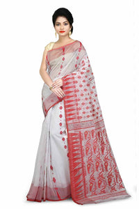 White Pure Resham Cotton Jamdani Saree