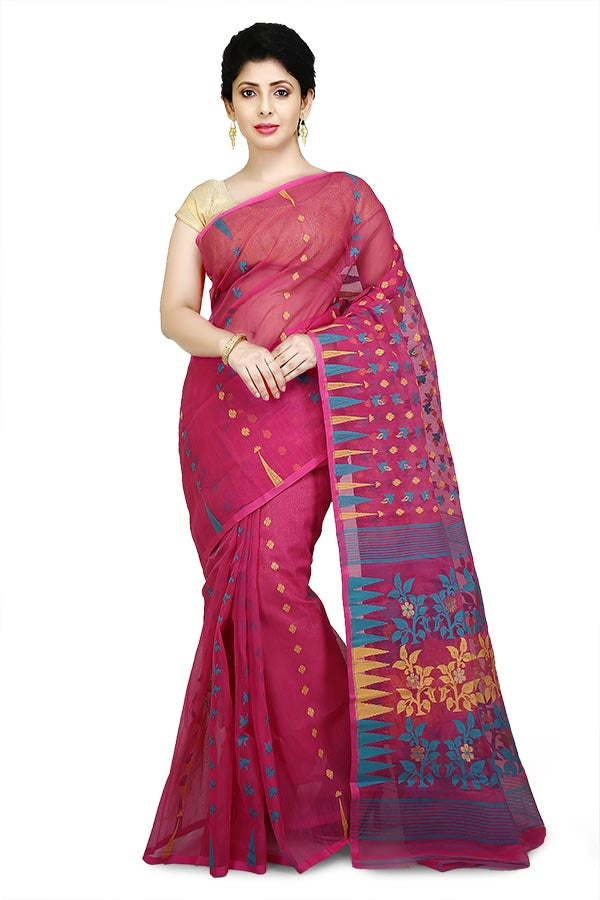 Rani Pure Resham Cotton Jamdani Saree