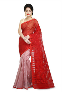 Red & Off White Bi Color Pure Resham Cotton Jamdani Saree