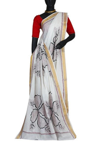 White Colored Pure Cotton Kantha Stitch Saree with Hand Stitch Work