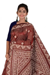 Black Berry Color Kantha Stitch Saree with Multi Colored Hand Thread Work Saree