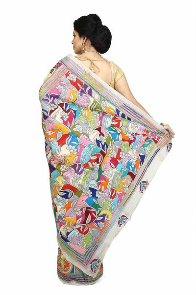 Off White Multi Color Pure Bangalore Silk Kantha Stitch Saree