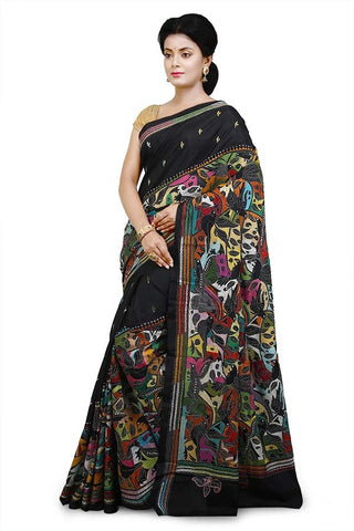 Black Bangalore Silk Kantha Stitch Saree