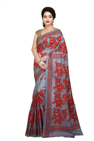 Ash Color Pure Bangalore Silk Kantha Stich Saree