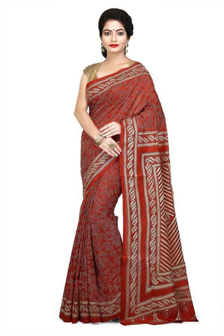Magenta Pure Bangalore Silk Kantha Stitch Saree