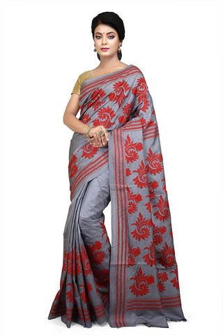 Ash Pure Bangalore Silk Kantha Stitch Saree