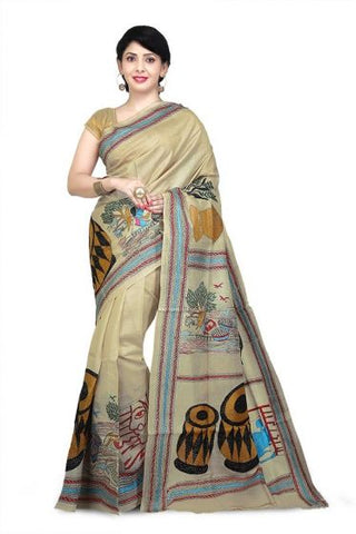 Pure Tussar Silk Boutique Kantha Stitch Saree