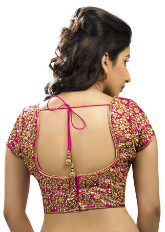 Pink Dupion Silk Back Open Blouse