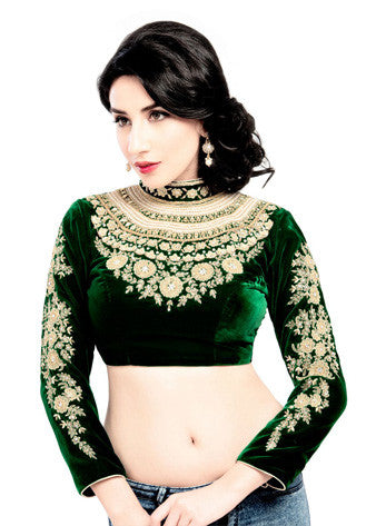 Vamas Green Velvet Back Open Blouse