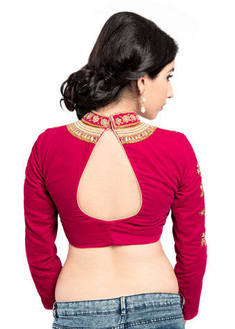 Vamas Pink Velvet Back Open Blouse
