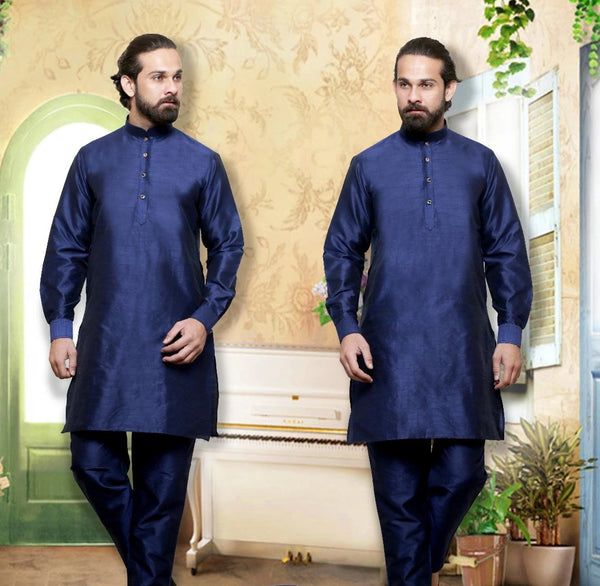 Blue Colored Dupion Silk Mens Kurta Pajama Set