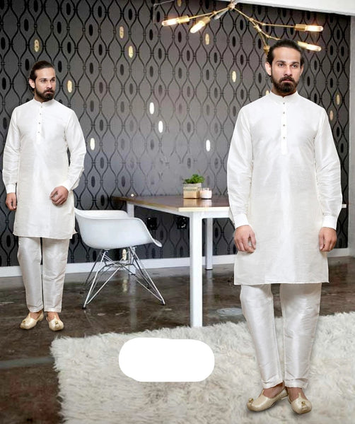 White Colored Dupion Silk Mens Kurta Pajama Set