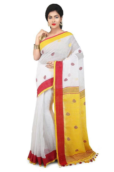 Yellow-White 100 Count Handwoven Linen Saree