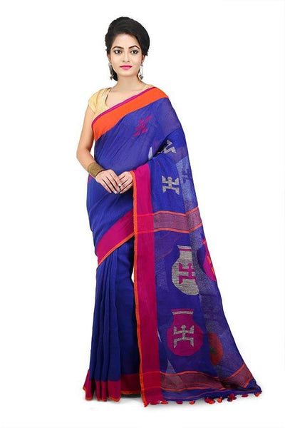 Prussian Blue 100 Count Handwoven Linen Saree