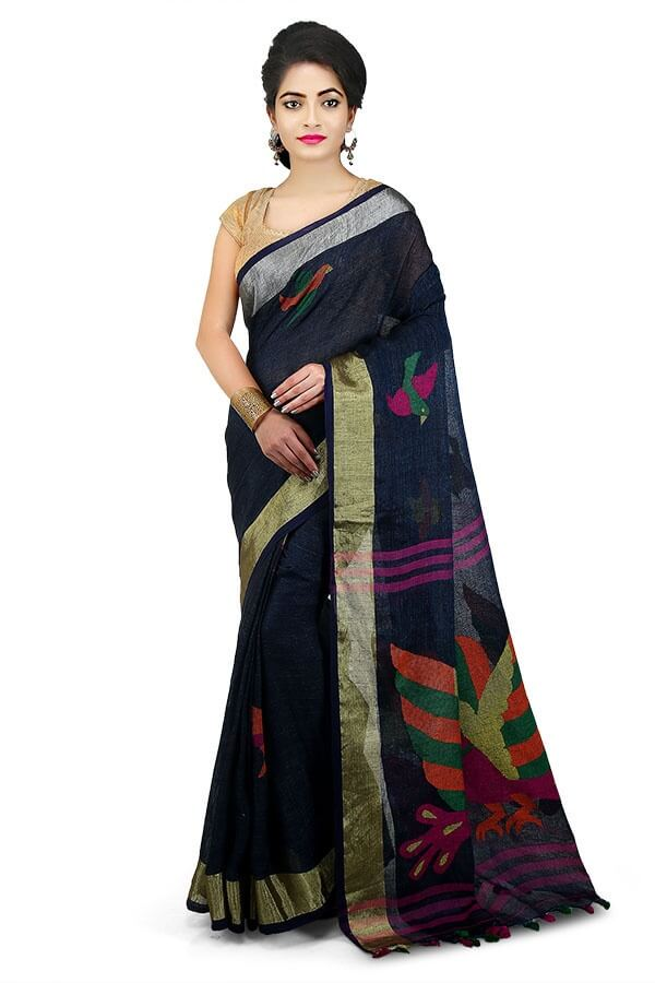 Dark-Blue 100 Count Handwoven Linen Saree