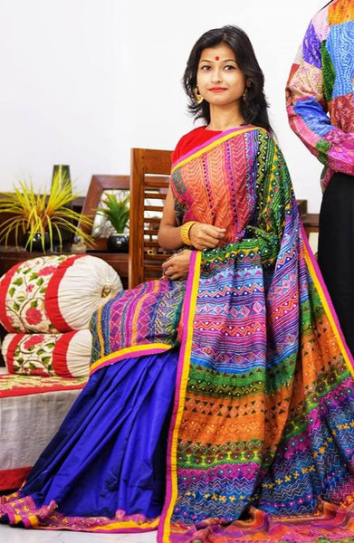 Rainbow Colored Kantha Stitched Saree on Pure Bangalore Silk