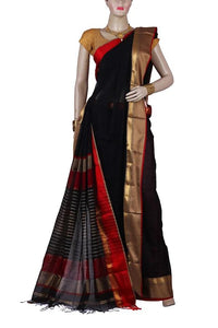 Black Color Maheshwari Silk Saree with Red and Golden Border