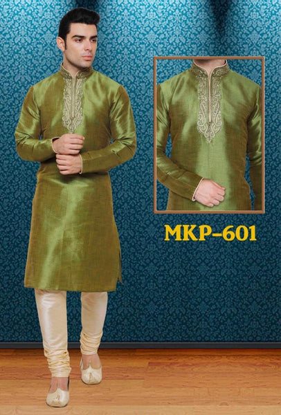 Olive Green Pure Silk Mens Long Kurta Pajama Set