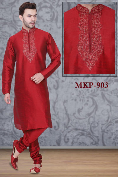 Red Color Long Dupion Silk Men's Kurta Pajama Set