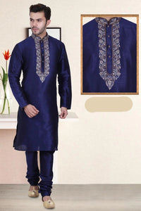 Navy Blue Color Long Dupion Silk Men's Kurta Pajama Set