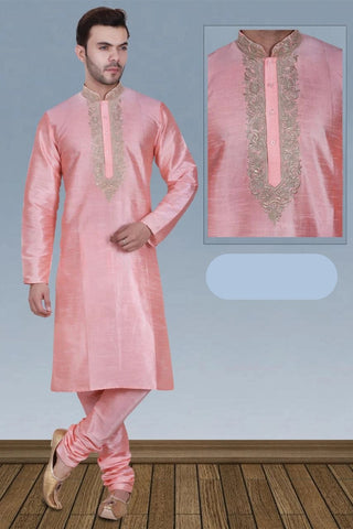 Baby Pink Color Long Dupion Silk Men's Kurta Pajama Set