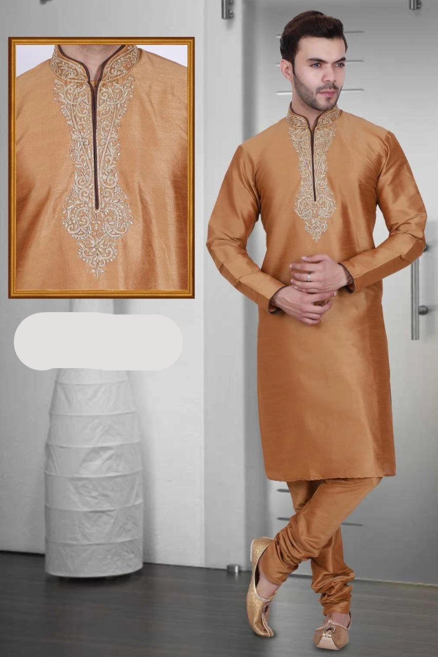 Bronze Color Long Dupion Silk Men's Kurta Pajama Set