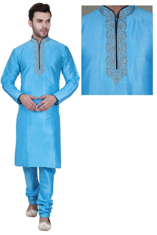 Azure Blue Color Long Dupion Silk Men's Kurta Pajama Set