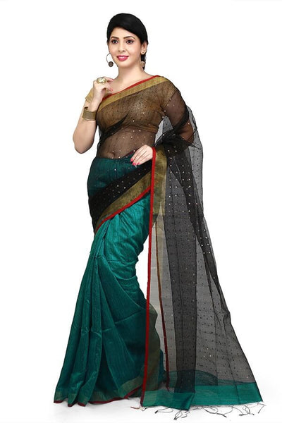 Designer Green & Black Pure Matka-Resham Silk Bi-Color Saree