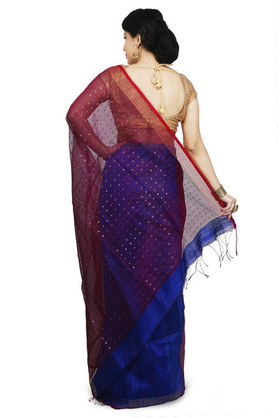 Maroon & Blue Bi Color Designer Matka-Resham Silk Two Shaded Saree