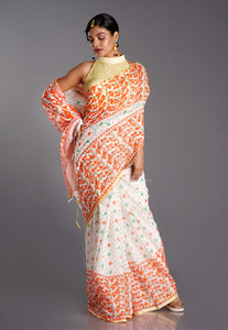 Bright and Beautiful White, Orange, and Turquoise Cotton Jamdani with Geometric Pattern