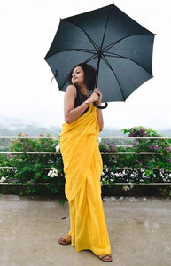 Butterfly Yellow Mul Cotton Saree