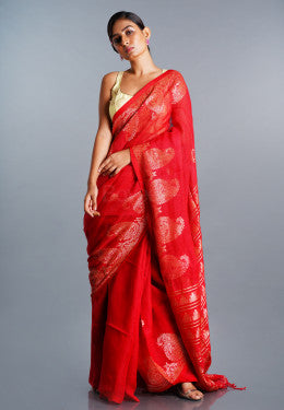 RED LINEN SAREE WITH GOLDEN PAISELY BORDER