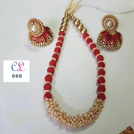 Red & Gold Threaded & Pearl Set with Earrings